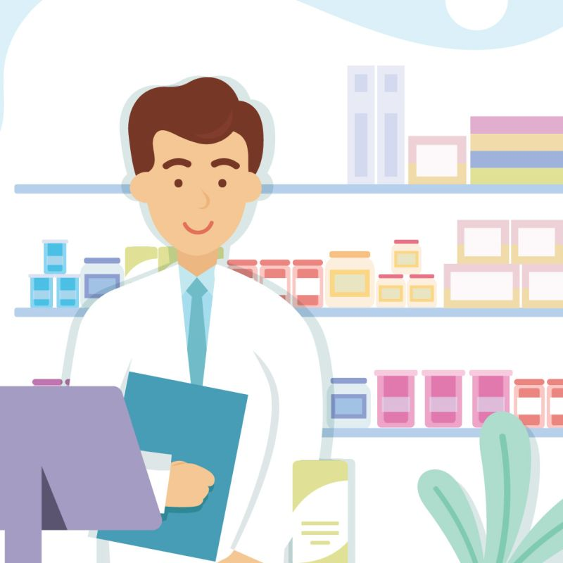 pharmacien au comptoir